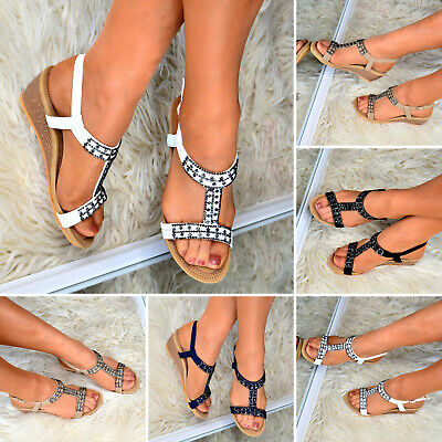 Ladies Summer Sandals Mid Low Heel Wedges Comfy Peep Toe Strappy Cushioned Shoes