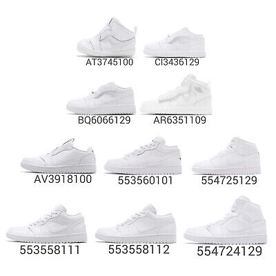 online store 5056f c7cc1 Nike Air Jordan 1 Low Mid Trible White AJ1 I Men Women Kids Baby TD Shoes