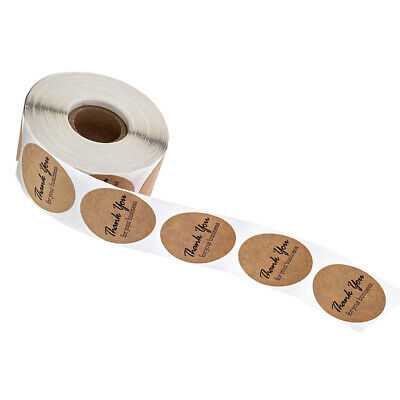 500x25mm Kraft Paper Labels Round Thank you for your business Stickers Seals