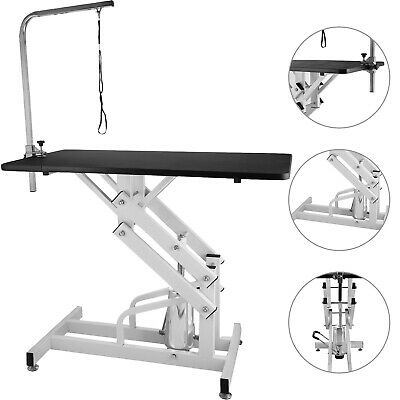 42.5''Steel Z-Lift Adjustable Hydraulic Pet Dog Grooming Table W/ Arm & Noose