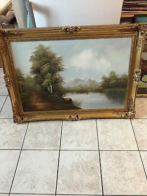 Large Gilt Framed Scenic Oil On Canvas