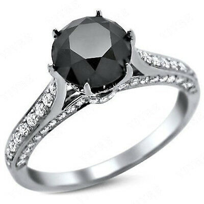 1.25 Ct Round Cut Diamond Solitaire With Accents Engagement Ring 10K White Gold