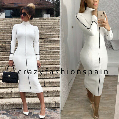 c935ae46 ZARA NEW RIBBED Dress Ecru Off White Long High Neck Knitted Long ...