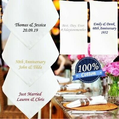 Personalised Wedding Cotton Napkin Embroidered Anniversary Place Setting Favour