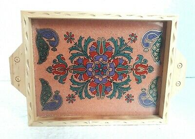 Wooden Serving Tray Hand Carved Gems Stone Glass Work Painted Home Indian Art