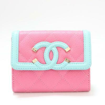 a75f79f2809613 Authentic CHANEL Coin purse wallet Purse Caviar skin leather Pink Used  Vintage