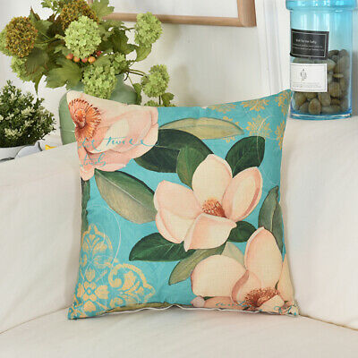 Retro Flower Bloom Home Decor Country Style Pillow Case Sofa Cushion Cover CB