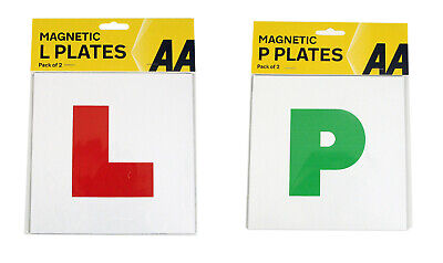 2x AA Fully Magnetic L Plates Learner And 2x AA Fully Magnetic P Plates Pass