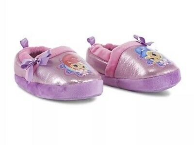 Toddler Girls Shimmer And Shine Slippers Sparkle Bow Slip On Non Slip 9/10