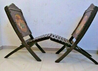 2 pieces ANTIQUE Style WOODEN Folding CHAIR - RARE (109)