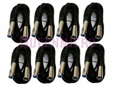 8 x 25Ft XLR 3-Pin Male Female Microphone Mic Cord Audio Shielded Cable 25 Foot