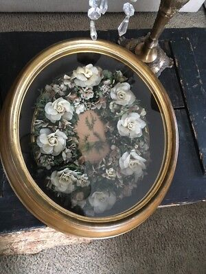 Antique Framed Wax Floral Memorial Wreath Picture Great Condition  Rare