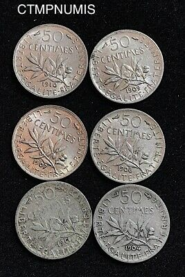 50 Centimes  Argent  Semeuse   Lot De 6 Monnaies  Differentes