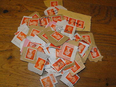1000 x 1st Class Orange GB Stamps Non Security Used & Franked on Paper First QE2
