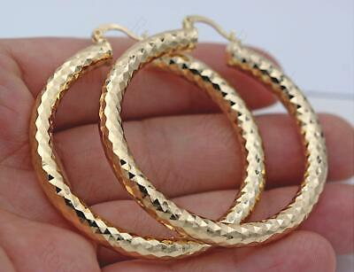 "18K Gold Filled Earrings 2.1"" Big Hoop Geometry Concave Bling Bling Party L6"