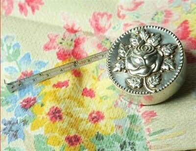 Victorian Trading Co Silver Plate Rose Vintage Style Metal Measuring Tape