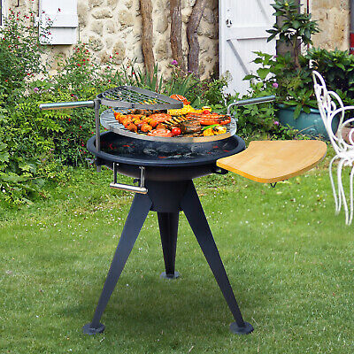 Outsunny Patio Fire Pit Barbecue Double Grill Stove Outdoor Brazier Burner BBQ
