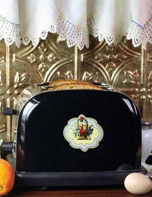 Victorian Trading Co Vintage Style Electric Toaster Black Stainless Steel Roses