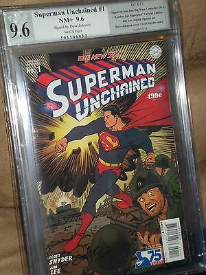 Superman Unchained #1 1:75 Johnson 30s Variant PGX SS 9.6 signed New 52 CGC