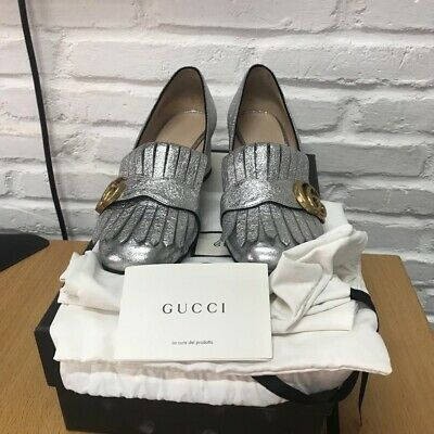 98dd8385377 GUCCI MARMONT METALLIC LEATHER DOUBLE G MID-HEEL PUMP 36 Silver ...