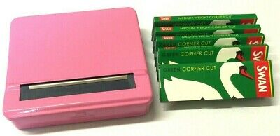 PINK AUTOMATIC ROLLING MACHINE STRONG METAL CIGARETTE ROLLER TIN and SWAN PAPERS