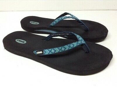 56b4a7212ae5 TEVA FLIP FLOP Thong Sandals Canvas Women s Size 10   40 Teal Blue S ...