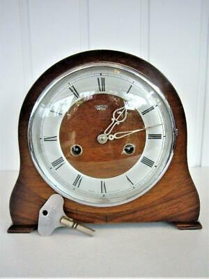 c1930s 8-DAY ENGLISH STRIKING MANTEL CLOCK - RESTORED.