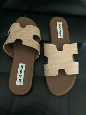 bf8c64d481f New Steve Madden Greece Harriet Beige Leather Sandals Slippers Flats Shoes  6.5