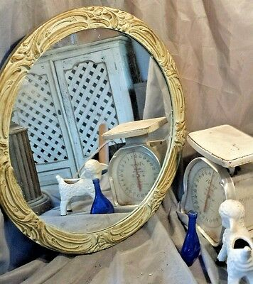 Round GESSO wood Vtg MIRROR Ornate FRAMe antique glass GREEN shabby distressed