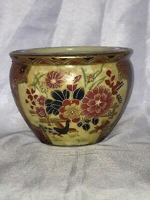 Antique Asian Hand Painted Vase Beautiful Flowers Gold