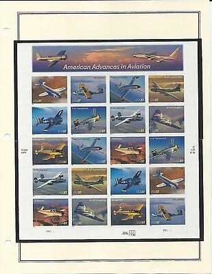 3916-3925 American Aviation A Pane Of 20 - .37 Cent Stamps   Mnh Pof