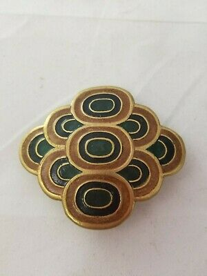 Vintage Brass and Enamel Belt Buckle Made in India Signed L 13 Green and Brown