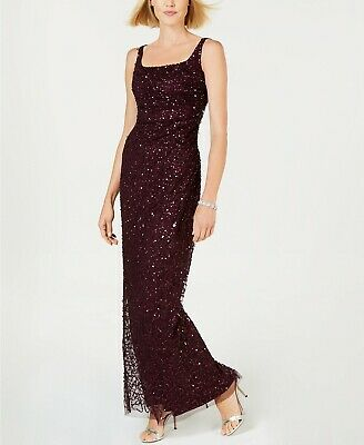 801d5bb1fb7e $279 NEW Adrianna Papell Sequin Beaded Column Gown with Square Neckline Size  8
