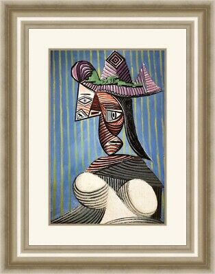 Pablo Picasso - Bust of a Women with Striped Hat Custom Framed Print FREE SHIP