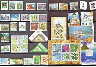 Brazil - 2003 - Complete Year - 31 stamps - 5 Souvenir Sheets -Mint Never Hinged