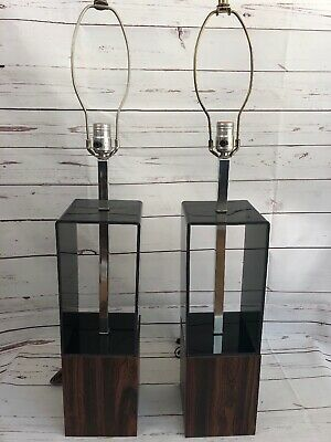 Vintage Pair Of Mid Century Modern Lamps With Smoke Grey , Wood , Chrome