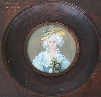 Fine Art French Antique Miniature Hand Painted Portrait Of Beautiful Lady Signed