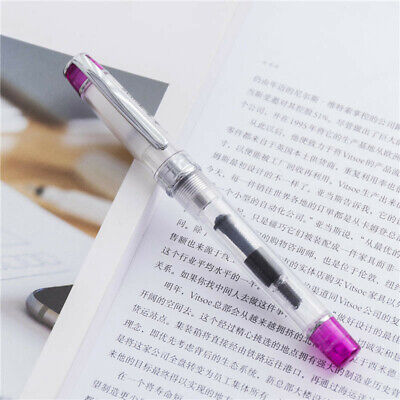 Wing Sung 3003 Red Transparent Fountain Pen Extra Fine Nib EF/0.38mm Writing