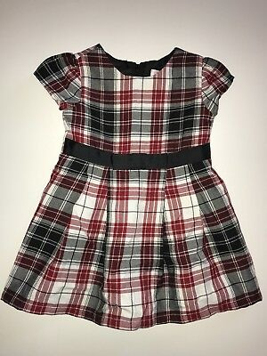 The Childrens Place Baby Girl Holiday Dress Red Black Check 18-24 Months EUC