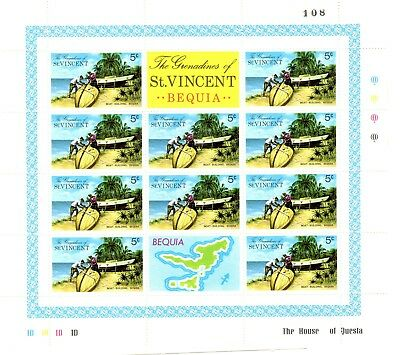 Grenadines of St VINCENT Bequia 5c Boat Building Sheet of 10 Unmounted Mint