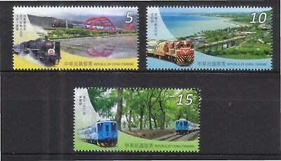 Rep. Of China Taiwan 2015 Railway Tourism Of Taiwan Comp. Set Of 3 Stamps Mint