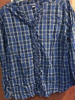 d86bc3c56e7446 Laura Scott Womens Plaid Long Sleeve 24 26w. Frilled Front And Collar New
