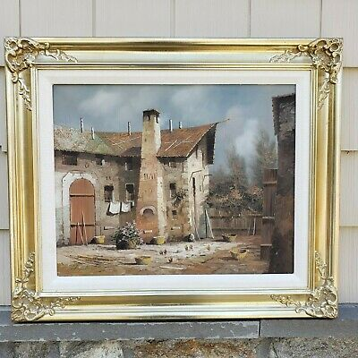 Vintage Village House with Laundry Drying Painting on Canvas by G. Borrelli