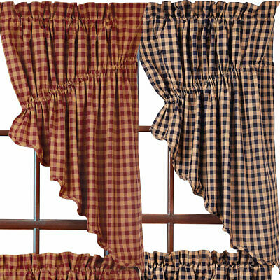 "Check Scalloped Prairie Curtains by VHC Brands Navy Burgundy 36"" or 63"" Length"