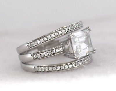 3.50Ct Emerald & Round Created Diamond 14K White Gold Silver Engagement Ring