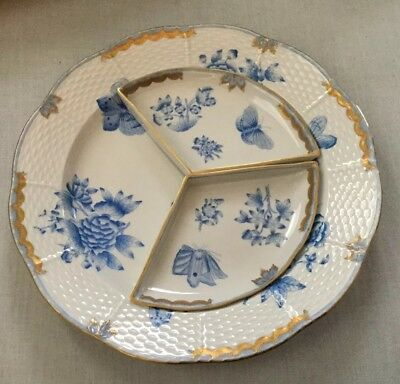 RARE Herend BLUE Fortuna Butterfly 3 Piece Relish (Missing 1) -Estate Find