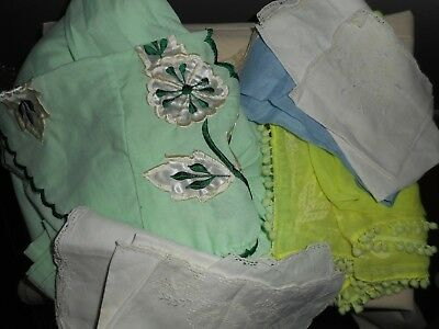Vintage Kerchief, House Dress, Napkins 8 Pc. LOT For Crafting