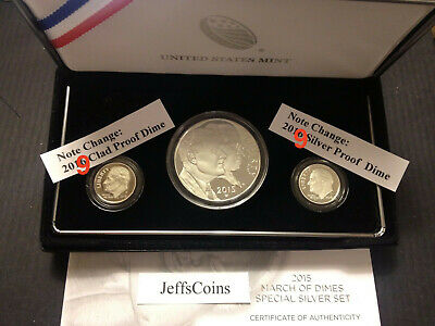 2015 W March of Dimes Set Dollar 2019 S Clad & 99% Silver Proof Dime No Reverse