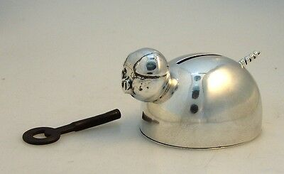 Sterling Silver Piggy Bank With Lock and Key 1935