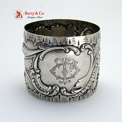 Repousse Floral Scroll Napkin Ring Coin Silver 1875 Monogram JO